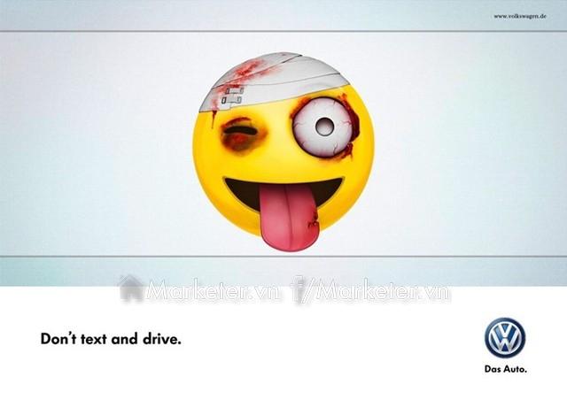 Đừng nhắn tin khi lái xe - biểu tượng (icon) mặt cười quen thuộc trong các tin nhắn được Volkswagen sử dụng rất thông minh.