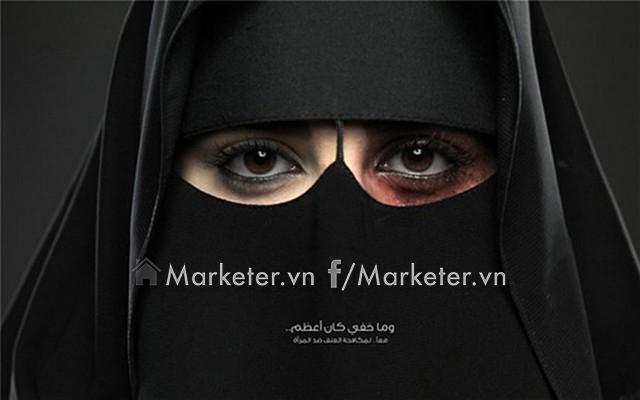 Hãy dừng việc ngược đãi phụ nữ là thông điệp gửi đến bởi tổ chức King Khalid Foundation.